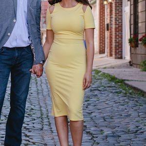 Asos Midi Pencil Dress with Cut Out Shoulder
